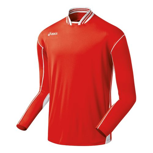 Mens ASICS Digg Long Sleeve No Zip Technical Tops - Red/White L