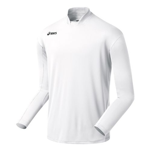 Mens ASICS Digg Long Sleeve No Zip Technical Tops - White/White S
