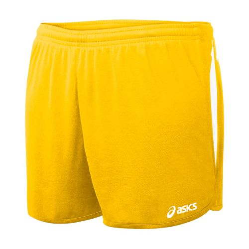 Womens ASICS Interval 1/2 Splits Shorts - Gold/White S