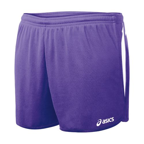 Womens ASICS Interval 1/2 Splits Shorts - Purple/White L