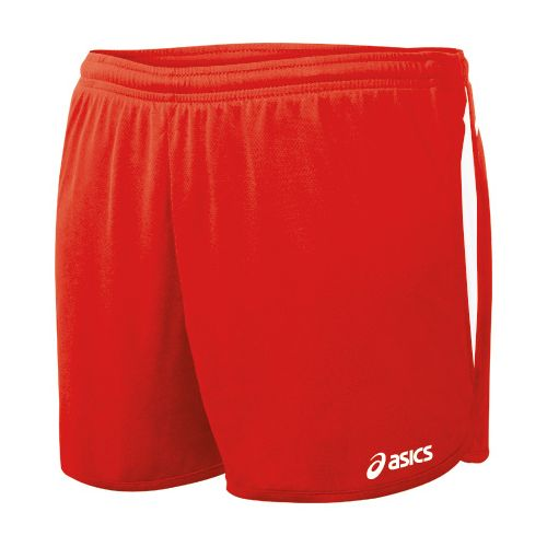 Womens ASICS Interval 1/2 Splits Shorts - Red/White L