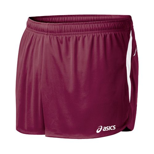 Mens ASICS Interval 1/2 Splits Shorts - Cardinal/White M