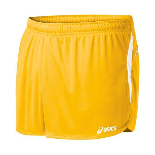 Mens ASICS Interval 1/2 Splits Shorts - Gold/White L
