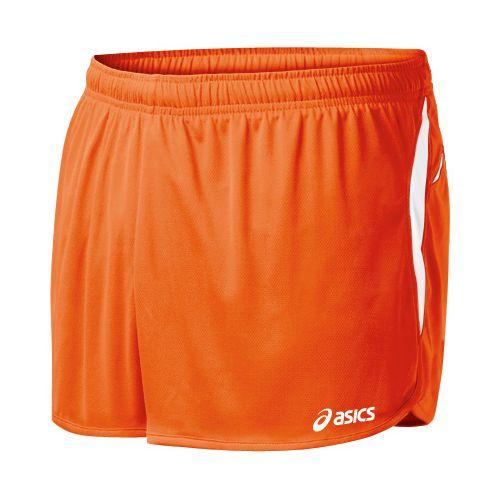 Mens ASICS Interval 1/2 Splits Shorts - Orange/White M