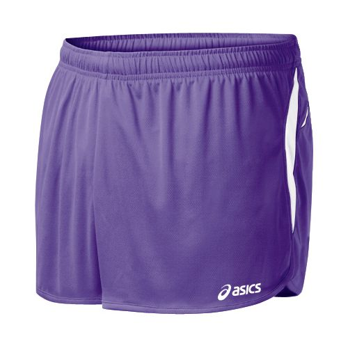 Mens ASICS Interval 1/2 Splits Shorts - Purple/White L