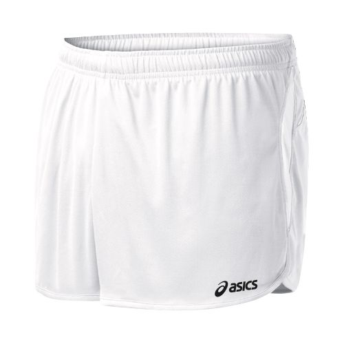 Mens ASICS Interval 1/2 Splits Shorts - White/White M