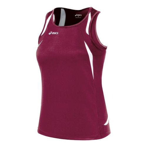 Womens ASICS Interval Singlets Technical Tops - Cardinal/White S