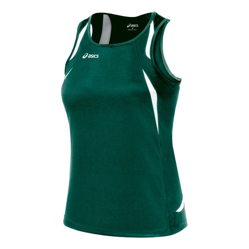 Womens ASICS Interval Singlets Technical Tops - Forest/White S