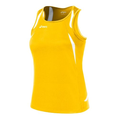 Womens ASICS Interval Singlets Technical Tops - Gold/White L
