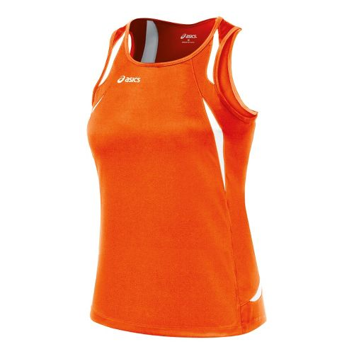 Womens ASICS Interval Singlets Technical Tops - Orange/White L