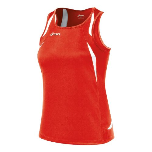 Womens ASICS Interval Singlets Technical Tops - Red/White XS