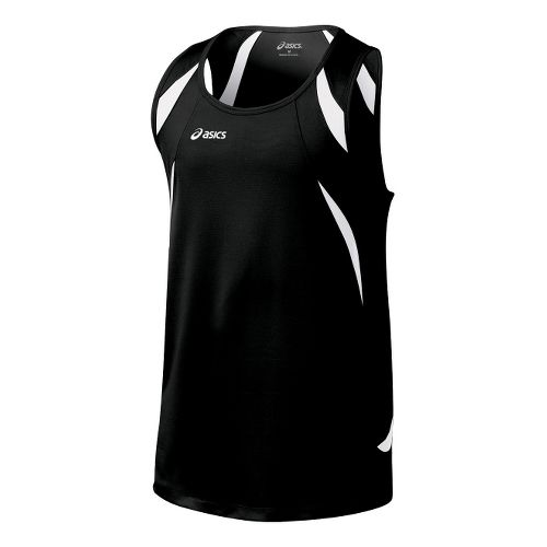 Mens ASICS Interval Singlets Technical Tops - Black/White XL