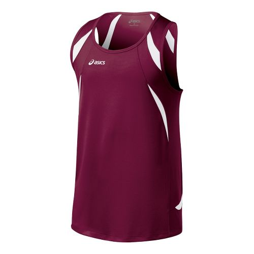 Mens ASICS Interval Singlets Technical Tops - Cardinal/White L