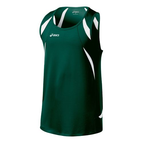 Mens ASICS Interval Singlets Technical Tops - Forest/White XL