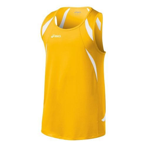 Mens ASICS Interval Singlets Technical Tops - Gold/White M