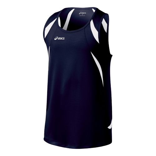 Mens ASICS Interval Singlets Technical Tops - Navy/White S