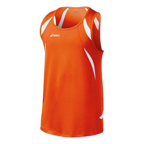 Mens ASICS Interval Singlets Technical Tops - Orange/White 3X