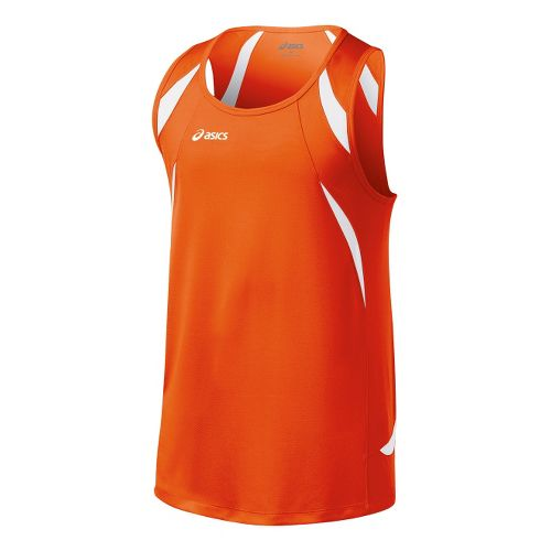 Mens ASICS Interval Singlets Technical Tops - Orange/White S