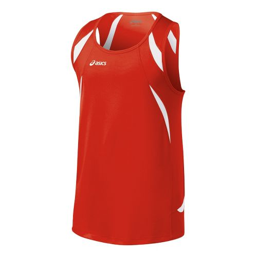 Mens ASICS Interval Singlets Technical Tops - Red/White M