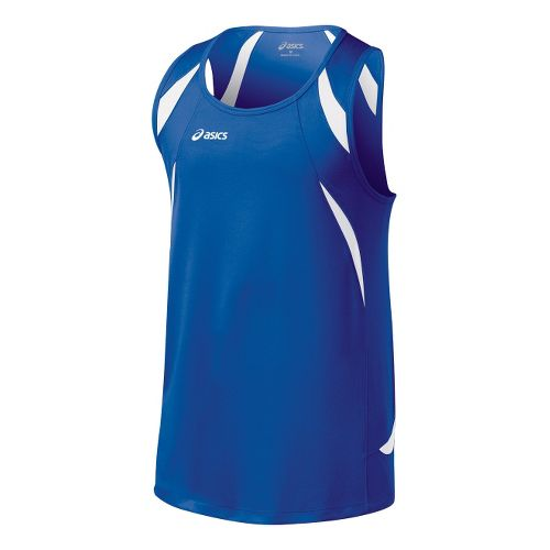 Mens ASICS Interval Singlets Technical Tops - Royal/White M