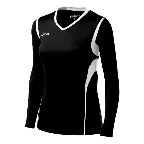 Kids ASICS Jr. Mintonette Long Sleeve No Zip Technical Tops - Black/White XL