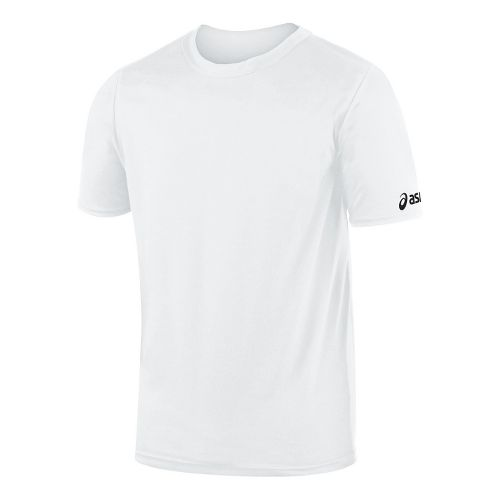 Kids ASICS Junior Circuit-7 Warm Up Shirt Short Sleeve Technical Tops - White L