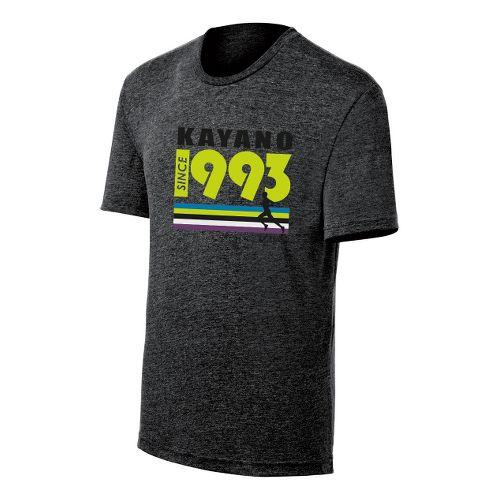 Mens ASICS Kayano 1993 Tee Short Sleeve Technical Tops - Black Heather XL