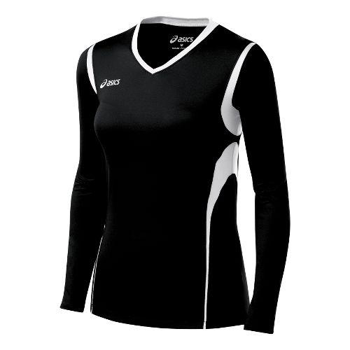 Womens ASICS Mintonette Long Sleeve No Zip Technical Tops - Black/White 2X