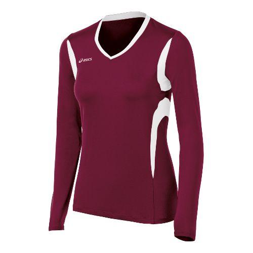 Womens ASICS Mintonette Long Sleeve No Zip Technical Tops - Cardinal/White 2X