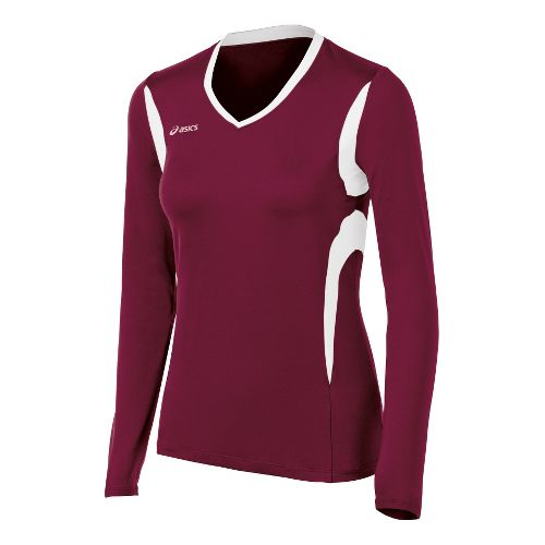 Womens ASICS Mintonette Long Sleeve No Zip Technical Tops - Cardinal/White XS