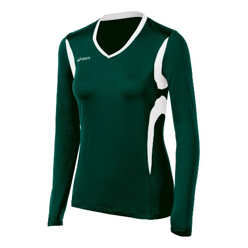 Womens ASICS Mintonette Long Sleeve No Zip Technical Tops - Forest/White 2X