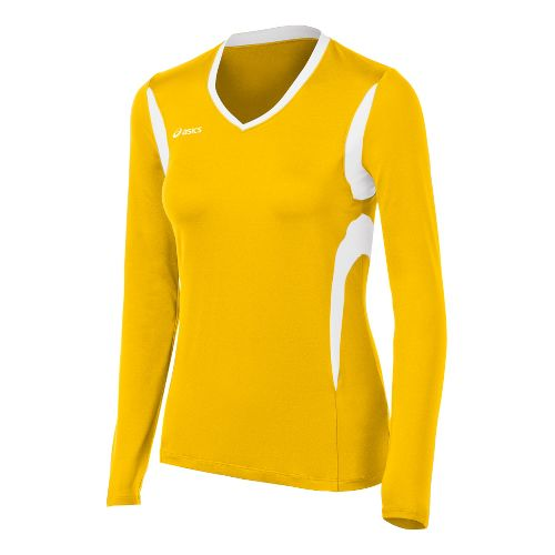 Womens ASICS Mintonette Long Sleeve No Zip Technical Tops - Gold/White 2X