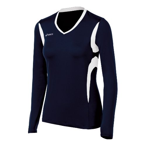 Womens ASICS Mintonette Long Sleeve No Zip Technical Tops - Navy/White XL