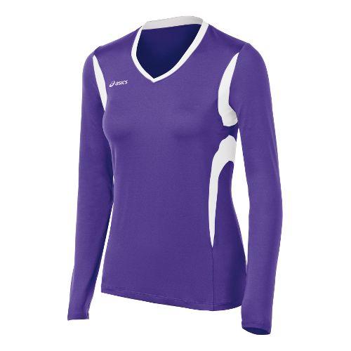 Womens ASICS Mintonette Long Sleeve No Zip Technical Tops - Purple/White S