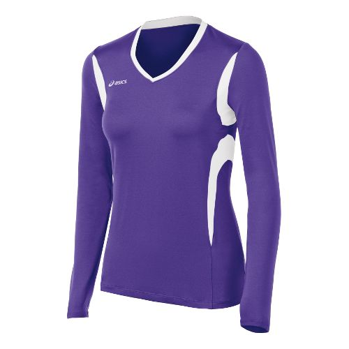 Womens ASICS Mintonette Long Sleeve No Zip Technical Tops - Purple/White XS