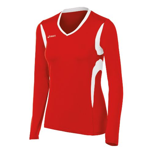 Womens ASICS Mintonette Long Sleeve No Zip Technical Tops - Red/White 2X