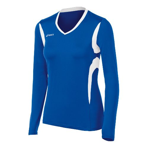 Womens ASICS Mintonette Long Sleeve No Zip Technical Tops - Royal/White 2X