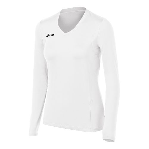 Womens ASICS Mintonette Long Sleeve No Zip Technical Tops - White/White 2X