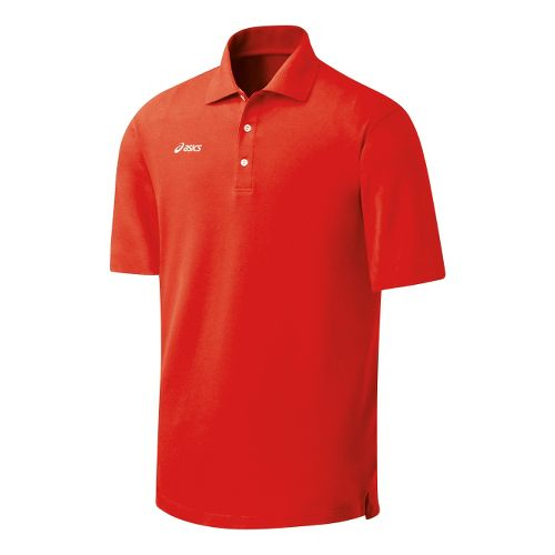 Womens ASICS Official Polo Short Sleeve Technical Tops - Red M