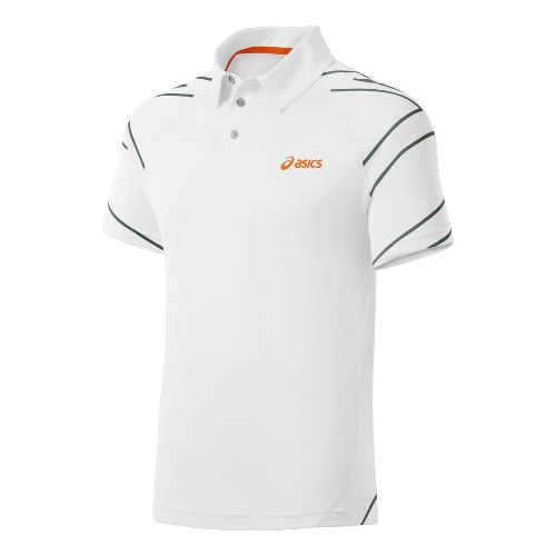 Mens ASICS Resolution Polo Short Sleeve Technical Tops - Real White M