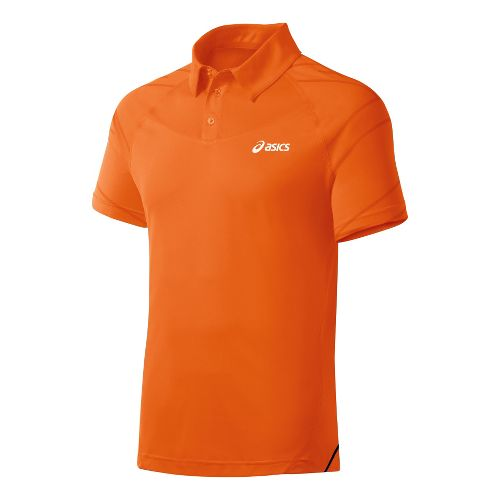 Mens ASICS Resolution Polo Short Sleeve Technical Tops - Shocking Orange L