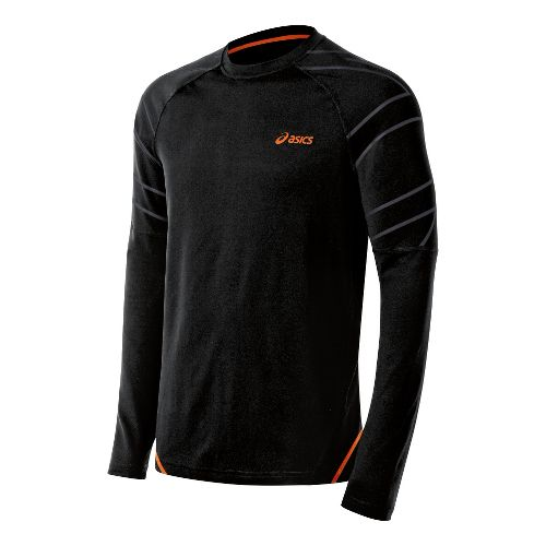 Mens ASICS Smash Top Long Sleeve No Zip Technical Tops - Performance Black L