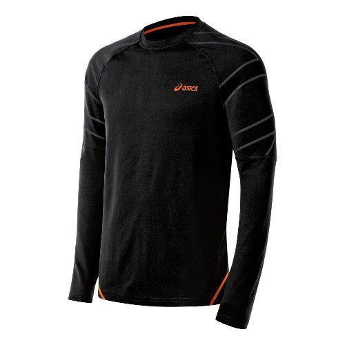 Mens ASICS Smash Top Long Sleeve No Zip Technical Tops - Performance Black XL