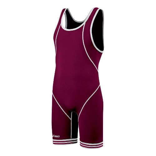 Mens ASICS Snap Down Singlet Wrestling UniSuits - Cardinal/White XL
