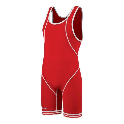 Mens ASICS Snap Down Singlet Wrestling UniSuits - Red/White L