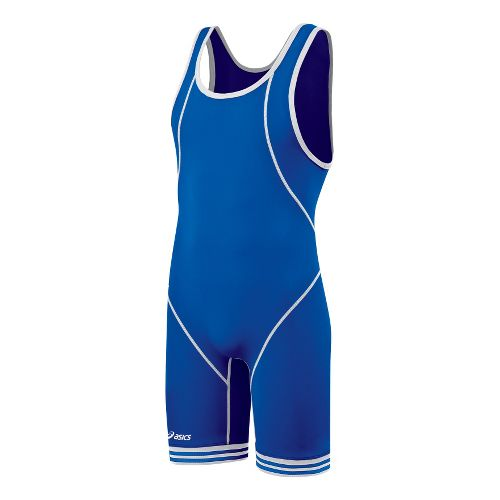 Mens ASICS Snap Down Singlet Wrestling UniSuits - Royal/White S
