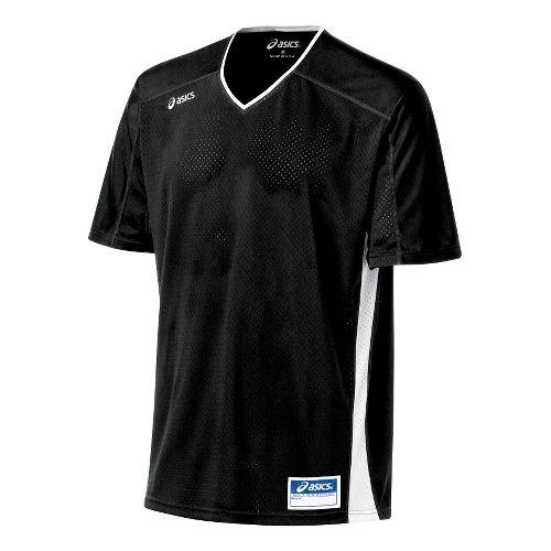 Mens ASICS Tango Jersey Short Sleeve Technical Tops - Black/White 3X