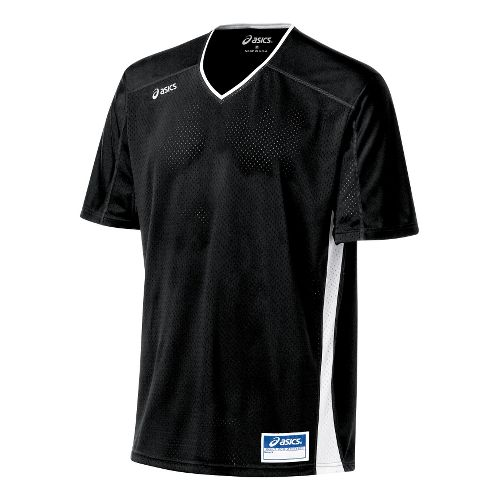 Mens ASICS Tango Jersey Short Sleeve Technical Tops - Black/White XL