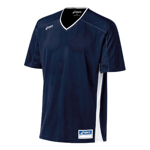 Mens ASICS Tango Jersey Short Sleeve Technical Tops - Navy/White L