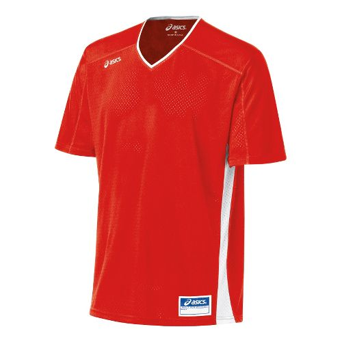 Mens ASICS Tango Jersey Short Sleeve Technical Tops - Red/White 2X